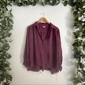 🎉Sale🎉Free People Free One Fray Blouse Purple